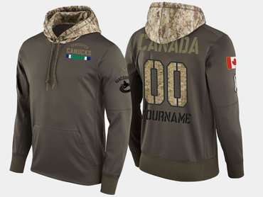 Nike Canucks Men's Customized Olive Salute To Service Pullover Hoodie