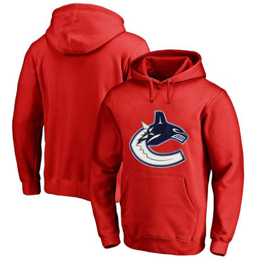 Vancouver Canucks Red Men's Customized All Stitched Pullover Hoodie