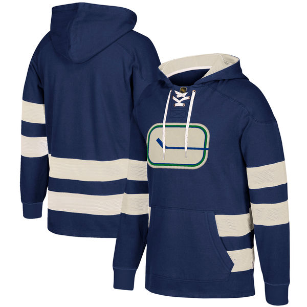 Vancouver Canucks Navy Men's Customized All Stitched Hooded Sweatshirt