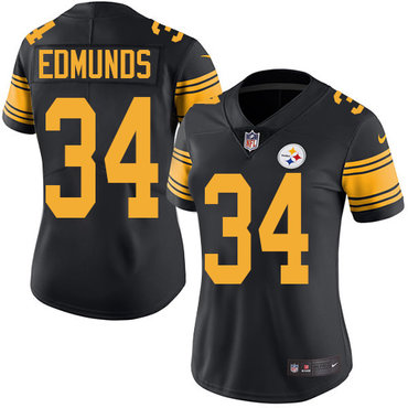 Nike Pittsburgh Steelers #34 Terrell Edmunds Black Women's Stitched NFL Limited Rush Jersey