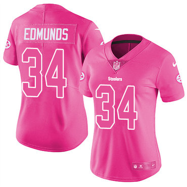 Nike Pittsburgh Steelers #34 Terrell Edmunds Pink Women's Stitched NFL Limited Rush Fashion Jersey