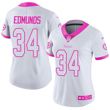 Nike Pittsburgh Steelers #34 Terrell Edmunds White Pink Women's Stitched NFL Limited Rush Fashion Jersey