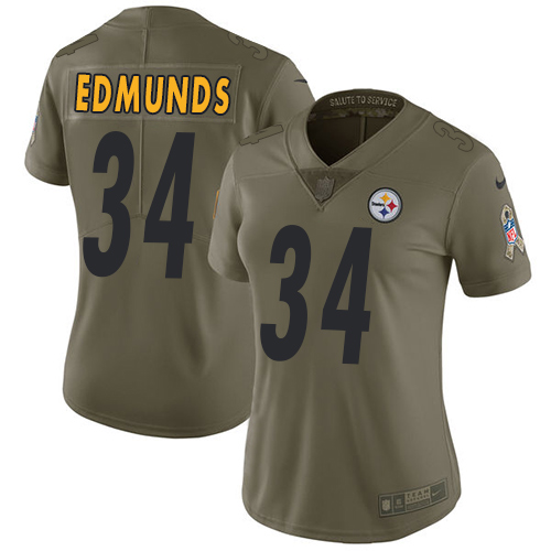 Nike Pittsburgh Steelers #34 Terrell Edmunds Olive Women's Stitched NFL Limited 2017 Salute to Service Jersey