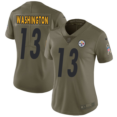 Nike Pittsburgh Steelers #13 James Washington Olive Women's Stitched NFL Limited 2017 Salute to Service Jersey