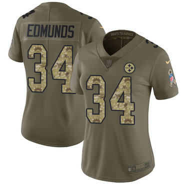 Nike Pittsburgh Steelers #34 Terrell Edmunds Olive Camo Women's Stitched NFL Limited 2017 Salute to Service Jersey