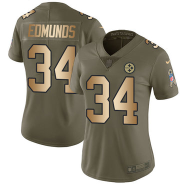 Nike Pittsburgh Steelers #34 Terrell Edmunds Olive Gold Women's Stitched NFL Limited 2017 Salute to Service Jersey