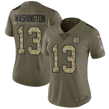 Nike Pittsburgh Steelers #13 James Washington Olive Camo Women's Stitched NFL Limited 2017 Salute to Service Jersey