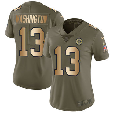 Nike Pittsburgh Steelers #13 James Washington Olive Gold Women's Stitched NFL Limited 2017 Salute to Service Jersey