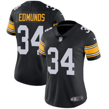 Nike Pittsburgh Steelers #34 Terrell Edmunds Black Team Color Women's Stitched NFL Vapor Untouchable Limited Jersey