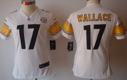 Nike Pittsburgh Steelers #17 Mike Wallace White Limited Womens Jersey