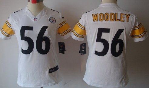 Nike Pittsburgh Steelers #56 Lamarr Woodley White Limited Womens Jersey