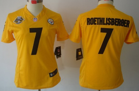 Nike Pittsburgh Steelers #7 Ben Roethlisberger Yellow Limited Womens 80TH Jersey