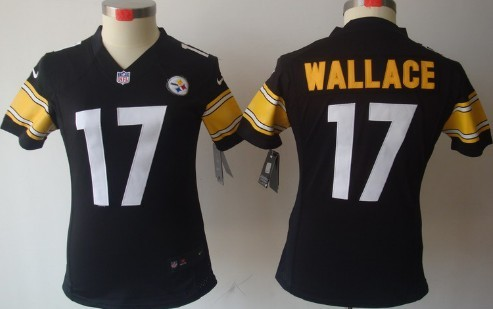 Nike Pittsburgh Steelers #17 Mike Wallace Black Limited Womens Jersey