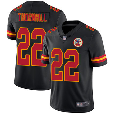 Chiefs #22 Juan Thornhill Black Men's Stitched Football Limited Rush Jersey