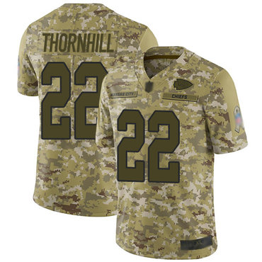 Chiefs #22 Juan Thornhill Camo Men's Stitched Football Limited 2018 Salute To Service Jersey