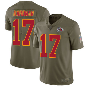 Chiefs #17 Mecole Hardman Olive Men's Stitched Football Limited 2017 Salute to Service Jersey