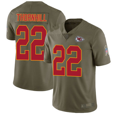 Chiefs #22 Juan Thornhill Olive Men's Stitched Football Limited 2017 Salute to Service Jersey