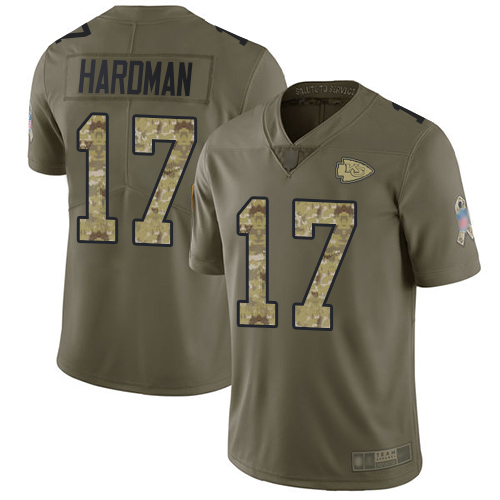 Chiefs #17 Mecole Hardman Olive Camo Men's Stitched Football Limited 2017 Salute To Service Jersey