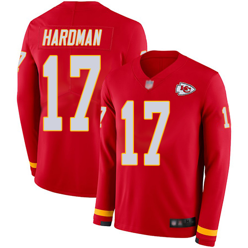 Chiefs #17 Mecole Hardman Red Team Color Men's Stitched Football Limited Therma Long Sleeve Jersey