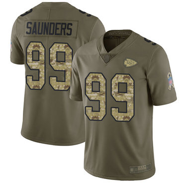 Chiefs #99 Khalen Saunders Olive Camo Men's Stitched Football Limited 2017 Salute To Service Jersey