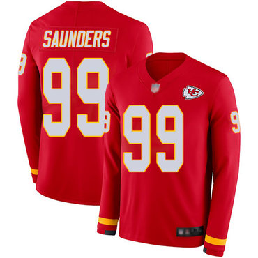 Chiefs #99 Khalen Saunders Red Team Color Men's Stitched Football Limited Therma Long Sleeve Jersey