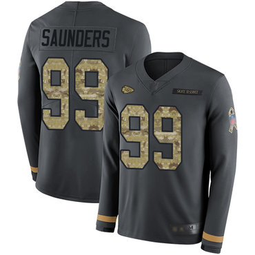 Chiefs #99 Khalen Saunders Anthracite Salute to Service Men's Stitched Football Limited Therma Long Sleeve Jersey