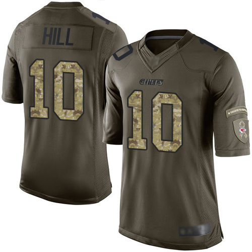 Chiefs #10 Tyreek Hill Green Men's Stitched Football Limited 2015 Salute to Service Jersey
