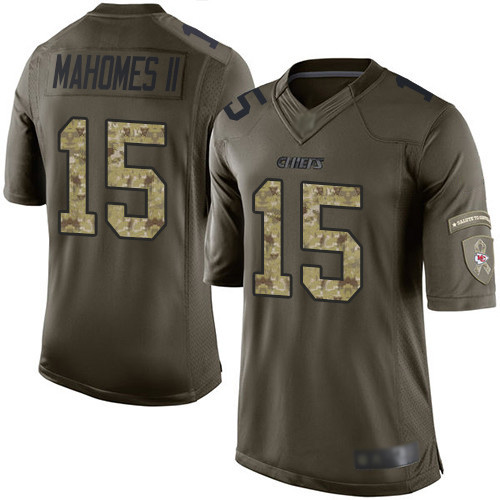 Chiefs #15 Patrick Mahomes Green Men's Stitched Football Limited 2015 Salute to Service Jersey