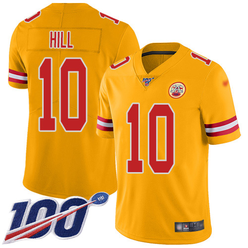 Chiefs #10 Tyreek Hill Gold Men's Stitched Football Limited Inverted Legend 100th Season Jersey