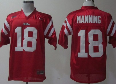 Ole Miss Rebels #18 Achie Manning Red Jersey