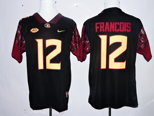 Men's Florida State Seminoles #12 Deondre Francois Black Stitched College Football 2016 Nike NCAA Jersey