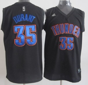Oklahoma City Thunder #35 Kevin Durant Black With Blue Fashion Authentic Jersey