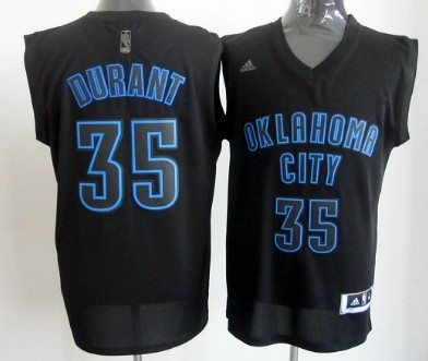 Oklahoma City Thunder #35 Kevin Durant All Black With Blue Fashion Jersey