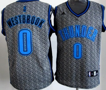 Oklahoma City Thunder #0 Russell Westbrook Gray Static Fashion Jersey