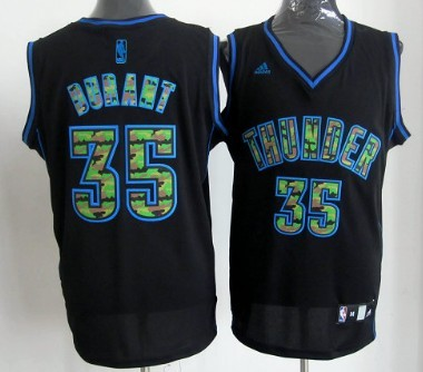Oklahoma City Thunder #35 Kevin Durant Black Camo Fashion Jersey