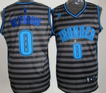 Oklahoma City Thunder #0 Russell Westbrook Gray With Black Pinstripe Jersey