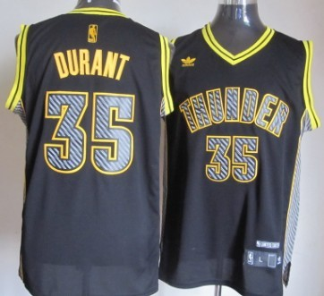 Oklahoma City Thunder #35 Kevin Durant Black Electricity Fashion Jersey