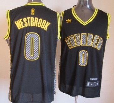 Oklahoma City Thunder #0 Russell Westbrook Black Electricity Fashion Jersey