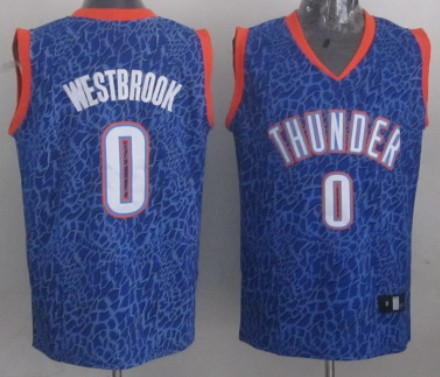 Oklahoma City Thunder #0 Russell Westbrook Blue Leopard Print Fashion Jersey