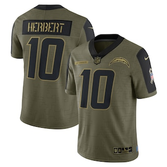 Men's Los Angeles Chargers #10 Justin Herbert Nike Olive 2021 Salute To Service Limited Player Jersey