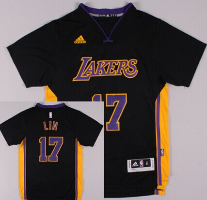 Los Angeles Lakers #17 Jeremy Lin Revolution 30 Swingman 2014 New Black With Purple Short-Sleeved Jersey