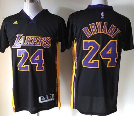 Los Angeles Lakers #24 Kobe Bryant Revolution 30 Swingman 2014 New Black With Purple Short-Sleeved Jersey