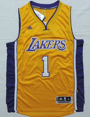 Men's Los Angeles Lakers #1 D'Angelo Russell Revolution 30 Swingman 2015 Draft New Yellow Jersey