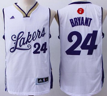 Men's Los Angeles Lakers #24 Kobe Bryant Revolution 30 Swingman 2015 Christmas Day White Jersey