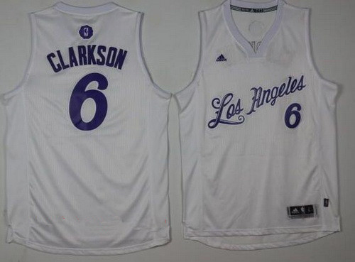 Men's Los Angeles Lakers #6 Jordan Clarkson Adidas White 2016 Christmas Day Stitched NBA Swingman Jersey