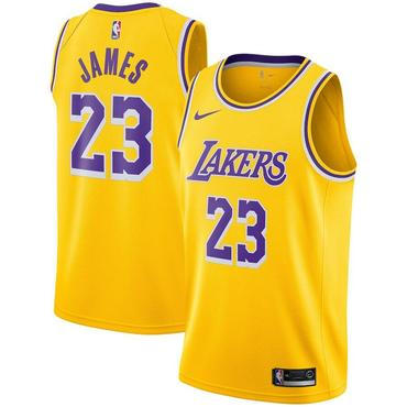 Men's Nike Los Angeles Lakers #23 LeBron James Purple Number Yellow Stitched NBA Jersey