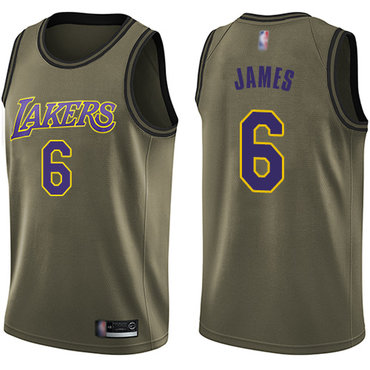 Lakers #6 LeBron James Green Salute to Service Basketball Swingman Jersey