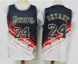 Men's Los Angeles Lakers #24 Kobe Bryant White With Black Independence Day 1997-98 Hardwood Classics Soul Swingman Throwback Jersey