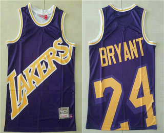 Men's Los Angeles Lakers #24 Kobe Bryant Purple Big Face Mitchell Ness Hardwood Classics Soul Swingman Throwback Jersey