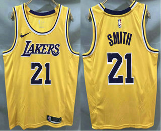 Men's Los Angeles Lakers #21 JR Smith Yellow 2020 Nike Swingman Printed NBA Jersey